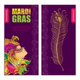 Vector invitation for Mardi Gras party with woman face in carnival mask with outline golden peacock feathers and ornate collar. Royalty Free Stock Photography