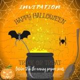 Vector invitation to Halloween with broom, magic cauldron, spider, bat, pumpkin on the cracked background. Stock Photos