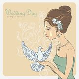 Vector Invite Card. Bride with dove Stock Images