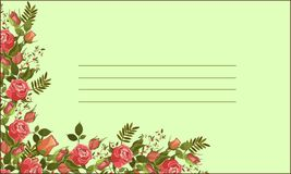 Vector roses border invite card. Royalty Free Stock Photo