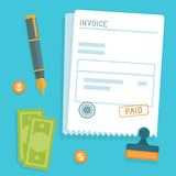 Vector invoice concept in flat style. Bill icon with stamp paid Stock Photo