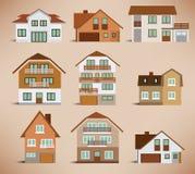 Huizen in de stad (retro kleuren) Stock Foto