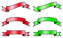 Vector Inzameling van rode en groene linten Stock Fotografie