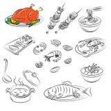 Vector Inzameling van vleesvoedsel Royalty-vrije Stock Afbeeldingen