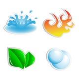 Vector inzameling van water, brand, installatie, lucht Stock Fotografie