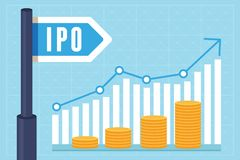 Vector IPO (initial public offering) concept. In flat style - investment and strategy icons stock illustration