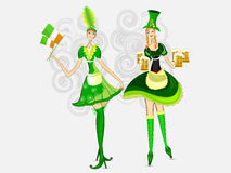 Vector. Irish girls for St. Patrick's Day. Stock Photography