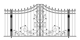 Vector Iron Gate. Black iron gate isolated on the white background. Vector illustration Royalty Free Stock Photography