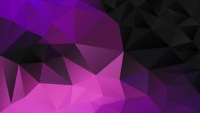 Vector irregular polygon background - triangle low poly pattern - black neon hot pink magenta purple ultra violet fuchsia. Vector abstract irregular polygon royalty free illustration