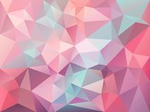 Vector irregular polygon background with a triangle pattern in baby pink, blue, purple color. Vector abstract irregular polygon background with a triangle Royalty Free Stock Images