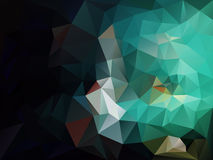 Vector irregular polygon background with a triangle pattern in black, green, blue and aquamarine color. Vector abstract irregular polygon background with a Stock Illustration