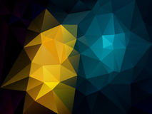Vector irregular polygon background with a triangle pattern in dark black, blue and yellow color Royalty Free Stock Photos