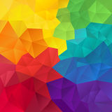 Vector irregular polygon background with a triangle pattern in full spectrum color - rainbow Stock Images