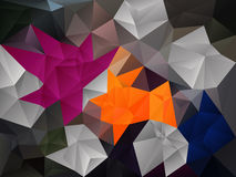 Vector irregular polygon background with a triangle pattern in gray, pink, blue, orange color Royalty Free Stock Photos