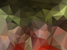 Vector irregular polygon background with a triangle pattern in khaki green, red old pink color Royalty Free Stock Photo