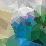 Vector irregular polygon background with a triangle pattern in peacock colors - green, blue, gray, beige, violet Royalty Free Stock Photography