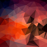 Vector irregular polygon background with a triangle pattern in red, orange, brown, pink, purple and blue color Royalty Free Stock Image