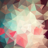 Vector irregular polygon background with a triangle pattern in retro beige, old pink, blue and green color Stock Photo