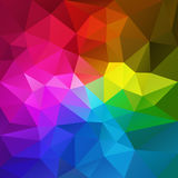 Vector irregular polygon background with a triangular pattern in rainbow full spectrum colors. Vector abstract irregular polygon background with a triangular vector illustration
