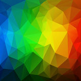 Vector irregular polygon background with a triangular pattern in vertical rainbow full spectrum colors. Vector abstract irregular polygon background with a Royalty Free Stock Photo