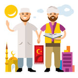 Vector Islam. Islamic Prayers. Flat style colorful Cartoon illustration. Imam with the Koran and a man holding hands. Isolated on a white background Royalty Free Stock Photography