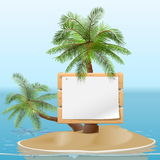 Vector Island with Signboard Royalty Free Stock Photo