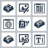 Vector isolated applications icons set. Audio player, image editor, spreadsheet application, internet browser, audiobook, video player, games, image browser Royalty Free Stock Image