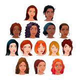 Vector isolated avatars. Indian, black, asian and latino women. Vector isolated avatars Stock Photos