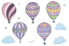 Vector isolated balloons on white background. Many differently colored striped air balloons flying in the clouded sky. Patterns of royalty free illustration