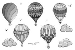 Vector isolated balloons on white background. Many striped air balloons flying in the clouded sky. Patterns of clouds and birds royalty free illustration