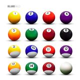 Vector isolated billiard balls on white background. Royalty Free Stock Photography