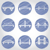 Vector isolated bridges big icons set Stock Photography