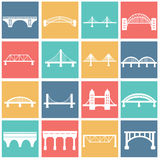 Vector isolated bridges icons set Royalty Free Stock Photos