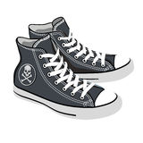 Vector isolated cartoon black sneakers Royalty Free Stock Image