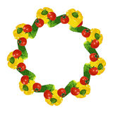 Vector isolated circle frame of  fresh red tomatoes, cucumbers and yellow bell peppers. On white background Royalty Free Stock Photography