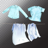 Set of realistic clean laundry clothes. Vector isolated clothes objects on transparent background. Vector isolated clothes objects on transparent background vector illustration