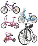 Vector isolated 5 different bicycles. royalty free illustration
