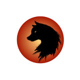 Vector isolated dog head with oriental strokes style.  Royalty Free Stock Photo
