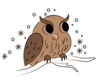 Cartoon owl sitting on branch stock illustration