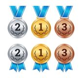 Vector isolated gold, silver and bronze medals, champion prizes, Royalty Free Stock Photography