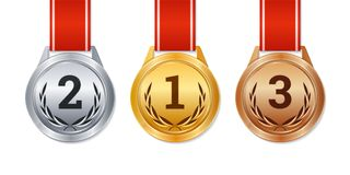 Vector isolated gold, silver and bronze medals, champion prizes, Stock Photography