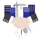 Vector of isolated handshake. Contract agreement sign for construction project royalty free illustration