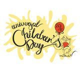 Vector isolated handwritten lettering Children s Day on white background. Vector calligraphy for greeting card vector illustration