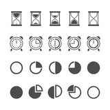 Vector isolated hourglasses and clocks icons set Stock Images