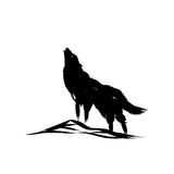 Vector isolated howling wolf with oriental strokes style.  Royalty Free Stock Image