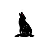 Vector isolated howling wolf with oriental strokes style.  Royalty Free Stock Images