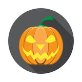 Vector isolated icon of glowing lantern jack with shadow for Halloween in flat. Royalty Free Stock Photo