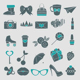 Vector isolated icons glamor stickers and labels. Vector isolated icons of glamor stickers and labels set Stock Images