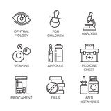 Vector isolated icons of health theme in outline style Stock Photos