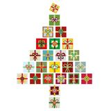 Contemporary vector isolated illustration of colorful Christmas tree made from stacks of presents. vector illustration
